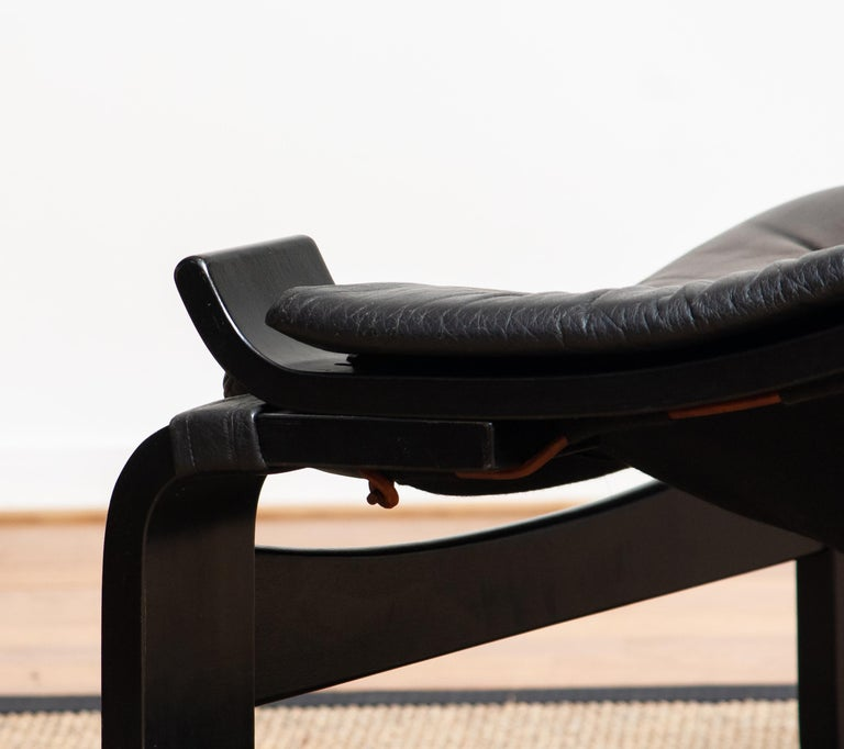 1970s, Black Leather Club Lounge Chair by Ake Fribytter for Nelo, Sweden 5