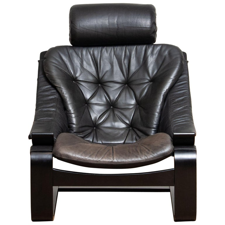 Swedish 1970s, Black Leather Club Lounge Chair by Ake Fribytter for Nelo, Sweden