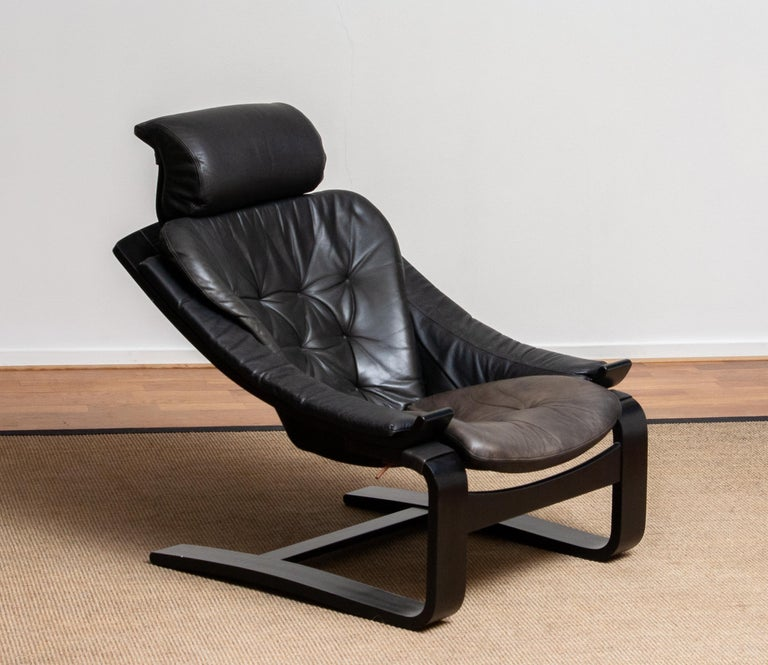 1970s, Black Leather Club Lounge Chair by Ake Fribytter for Nelo, Sweden In Good Condition In Silvolde, Gelderland