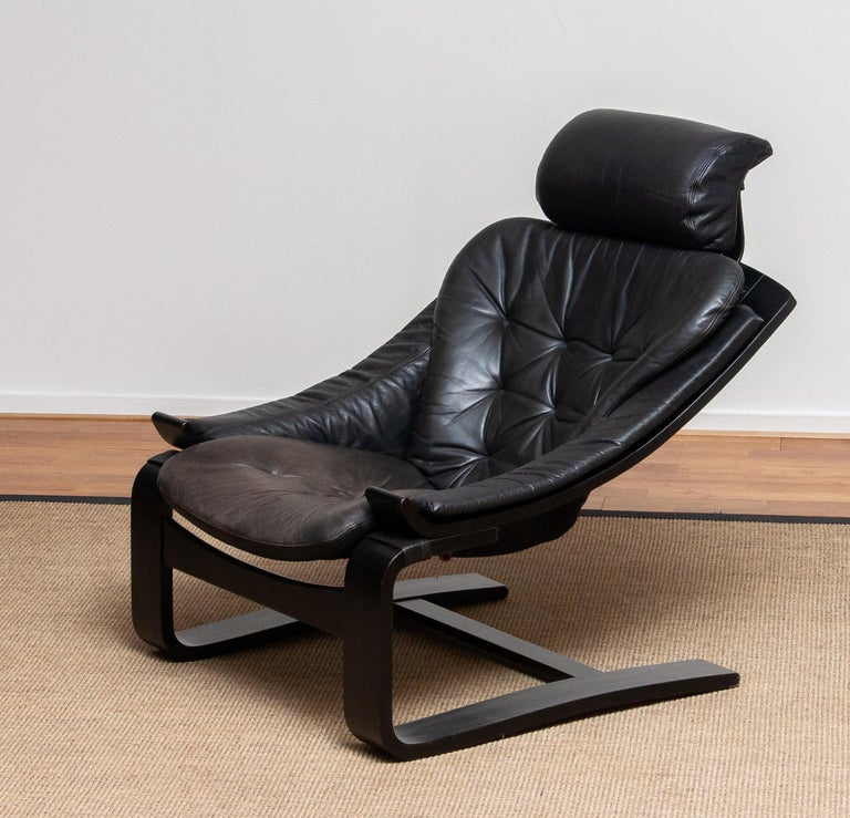 Late 20th Century 1970s, Black Leather Club Lounge Chair by Ake Fribytter for Nelo, Sweden