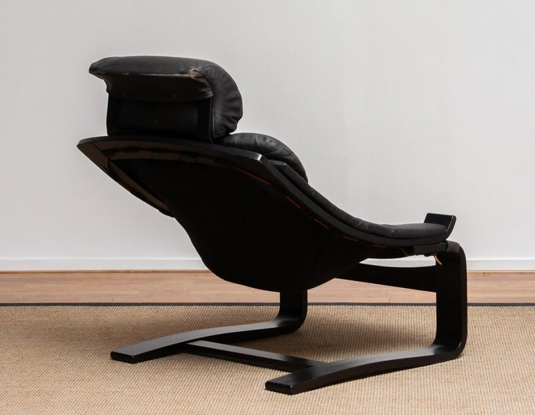 1970s, Black Leather Club Lounge Chair by Ake Fribytter for Nelo, Sweden 3