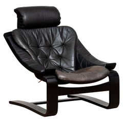 1970s, Black Leather Club Lounge Chair by Ake Fribytter for Nelo, Sweden