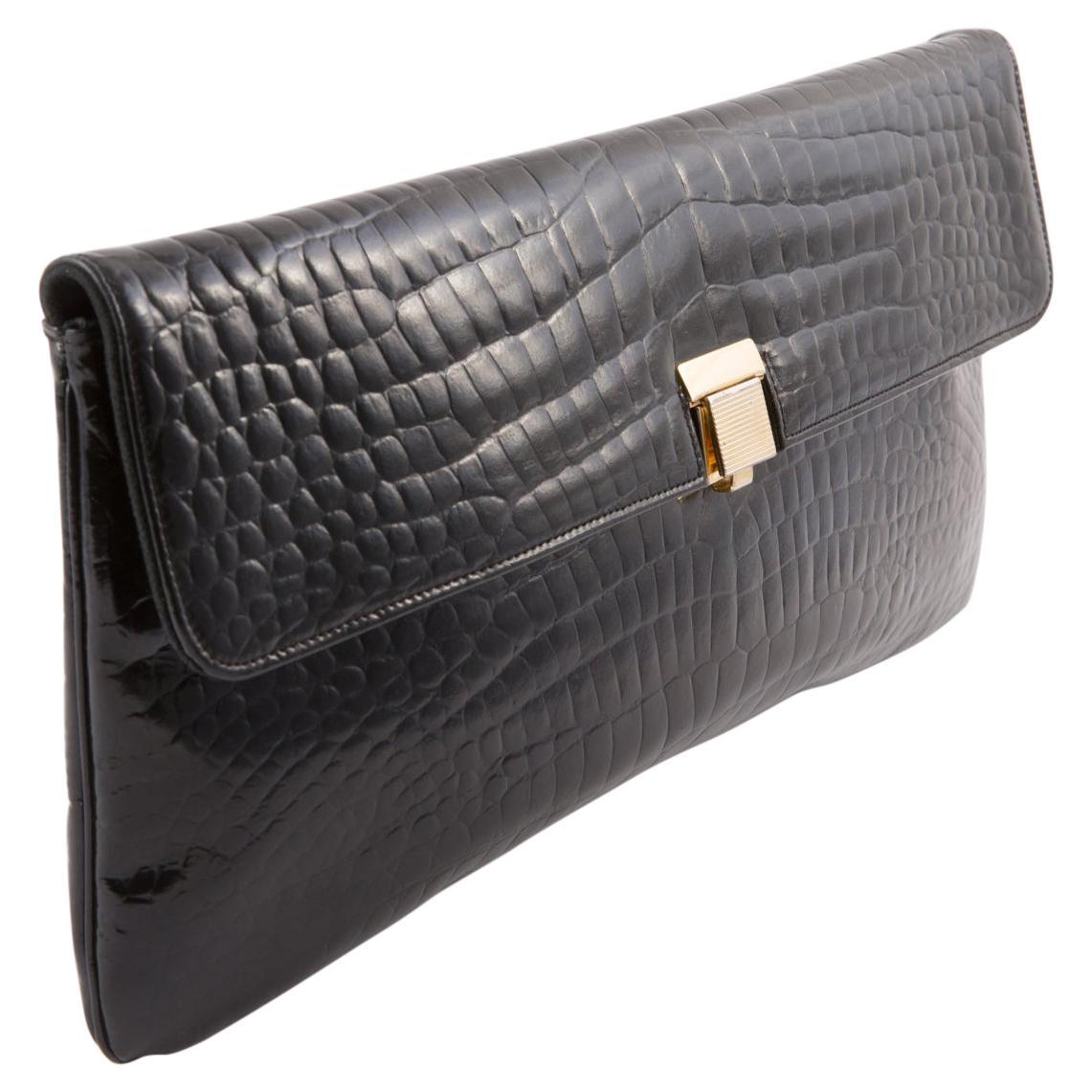 1970s Black Leather Long Evening Clutch Bag
