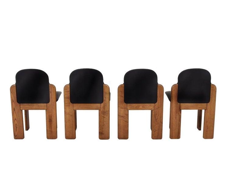 Italian Black Leather Model 330 Dining Chair, Silvio Coppola, Fratelli Montina, 1970s
