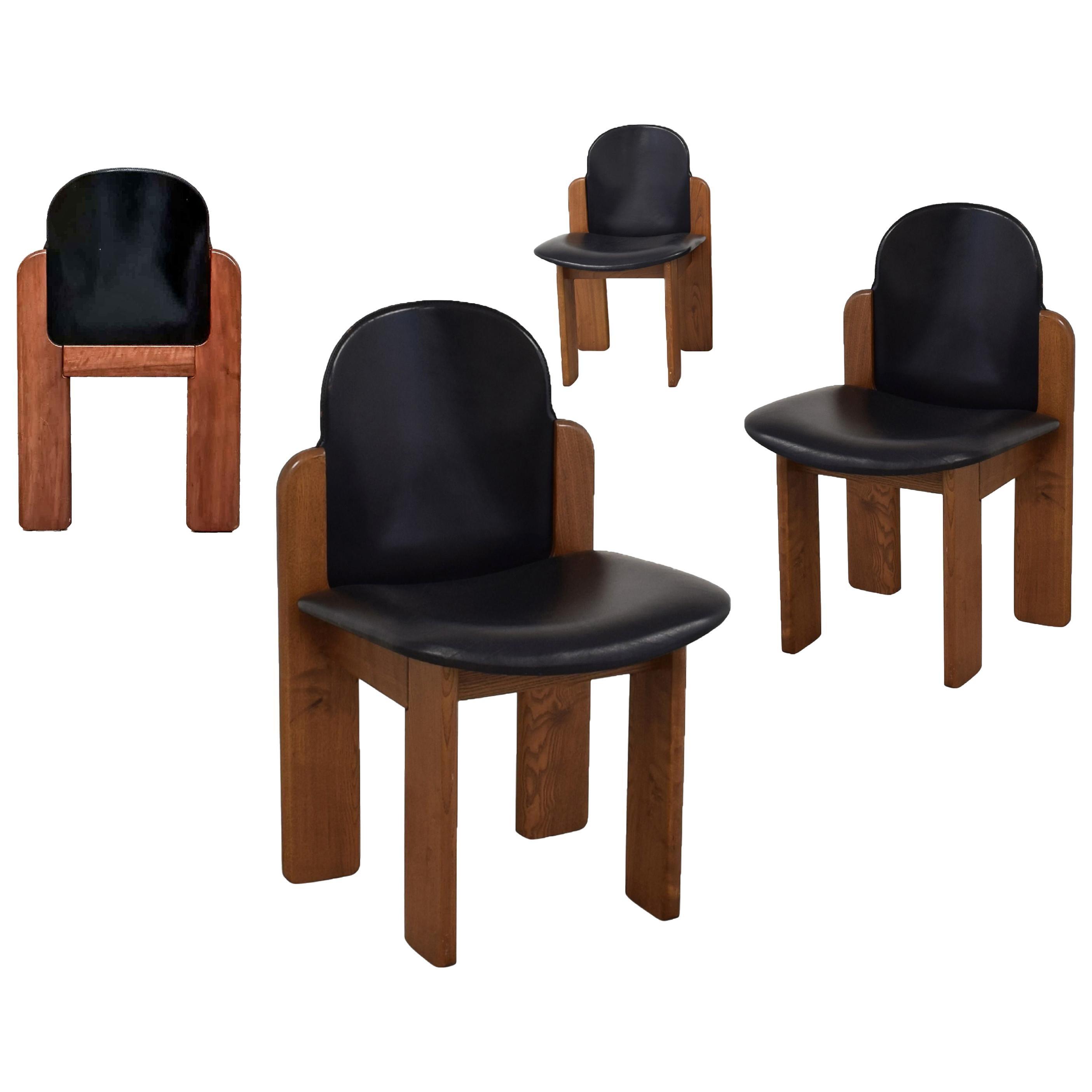 Model 330 Dining Chair, Silvio Coppola, Fratelli Montina, Black Leather, 1970s