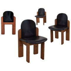Model 330 Dining Chair, Silvio Coppola, Fratelli Montina, Black Leather, 1970s