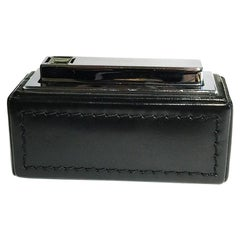 1970s Black Leather Stitched Kawee, Karl Wieden Germany Table Lighter