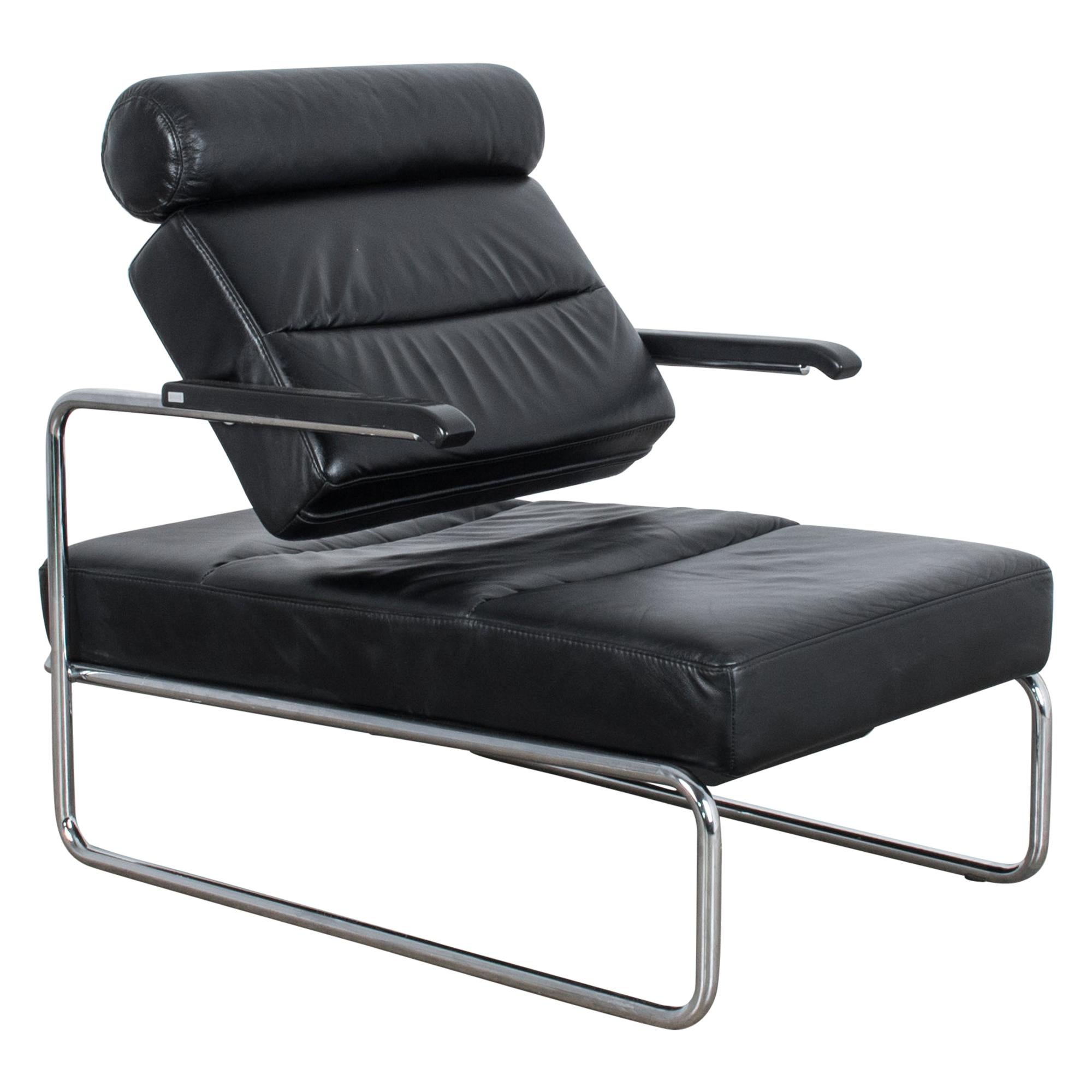 1970s Black Leather Thonet Adjustable Leather Lounge Chair