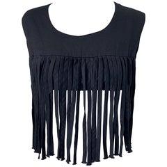 1970s Black Linen Fringe Vintage Boho Chic Festival 70s Crop Top Shirt Blouse
