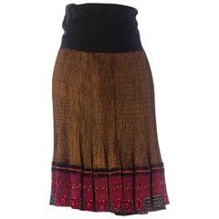 1970S Black Metallic Cotton & Rayon Pleated Wrap Skirt From Nepal
