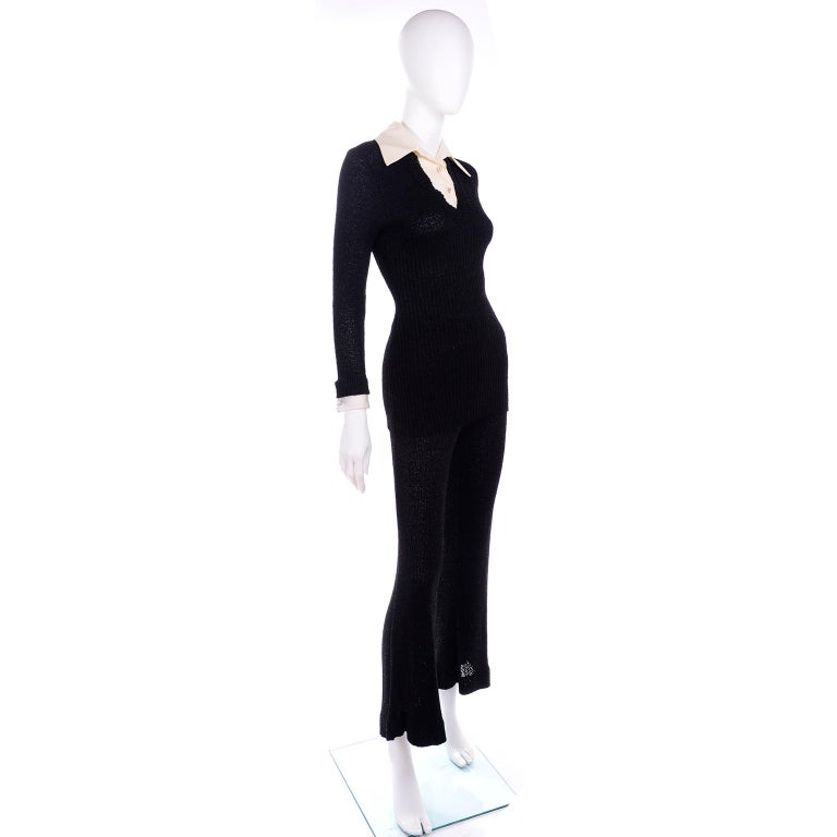1970s Black Metallic Sparkle Knit Evening Pants Outfit w/ Rhinestone Dickie  In Good Condition For Sale In Portland, OR