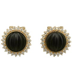 1970s Black Onyx Diamond Yellow Gold Earrings