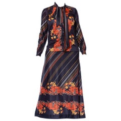1970S Black & Orange Polyester Jersey Bow Neck Blouse Maxi Skirt Ensemble