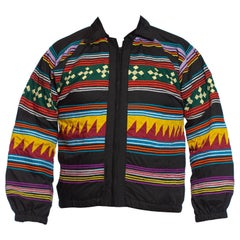 1970S Black Poly/Cotton Zip Front Seminole Indian Native American Jacket With R