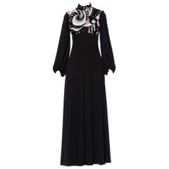 1970S Black Polyester Jersey Psycadellic Beaded Gown Reportedly From The Cher S