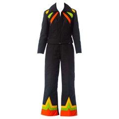 1970S Black Polyester Ski Wear Ensemble With Orange & Yellow Details