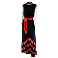 1970s Black Red & White Knit Chevron Maxi Dress