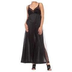 1970S Black Sheer Mesh Bodice Nylon Negligee Slip Dress