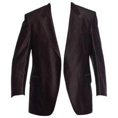 1970S Black Shiny Polyester Sharp Fitted Men's Western Blazer