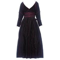 1970S Black Silk Taffeta  & Suede Wrap Top Skirt Ensemble