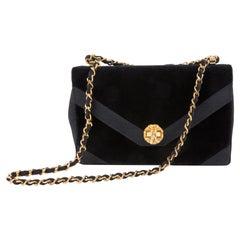 1970s Black Silk Velvet Evening Shoulder Bag