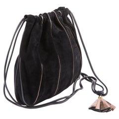 1970s Black Suede Leather Shoulder Basket Bag