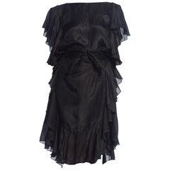 1970S Black Tissue Silk Ruffled Dress Holly Harp style