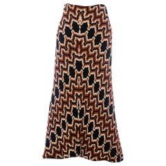 1970S Black, White & Copper Bias Cut Rayon Wool Italian Couture Zig Zag Chenill