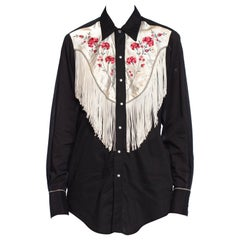 1970S Black & White Cotton Western Shirt With Fringe And Satin Floral Embroider
