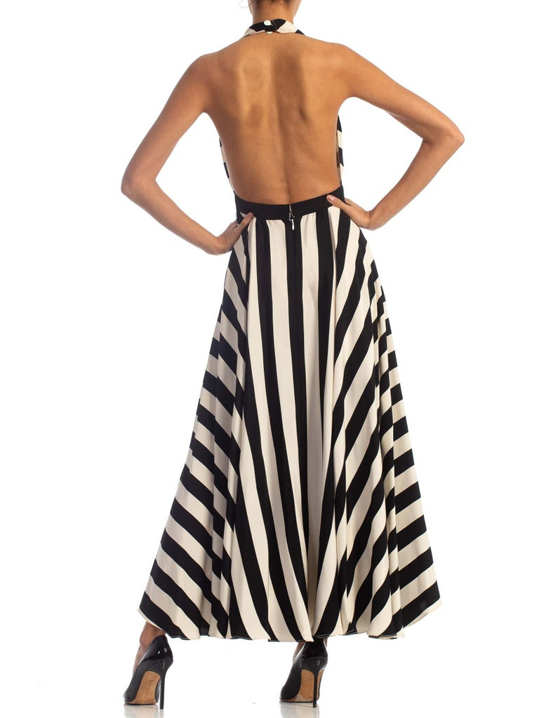 1970S Black & White Striped Silk Faille Backless Halter Gown With Slit Pockets For Sale 7