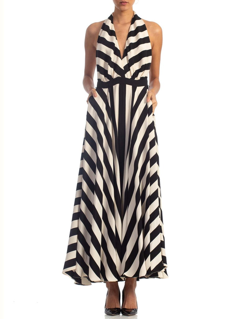 1970S Black & White Striped Silk Faille Backless Halter Gown With Slit Pockets In Excellent Condition For Sale In New York, NY