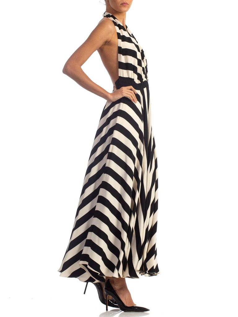 Women's 1970S Black & White Striped Silk Faille Backless Halter Gown With Slit Pockets For Sale