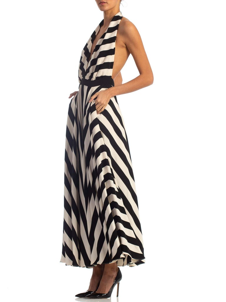 1970S Black & White Striped Silk Faille Backless Halter Gown With Slit Pockets For Sale 1