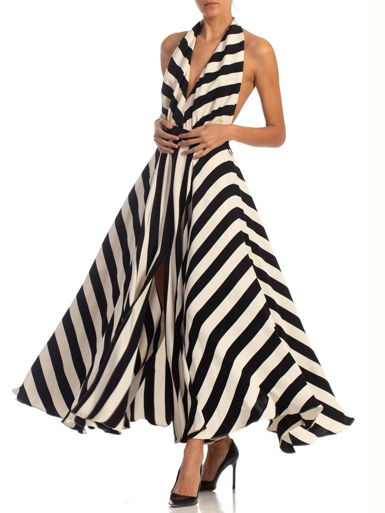 1970S Black & White Striped Silk Faille Backless Halter Gown With Slit Pockets For Sale 2