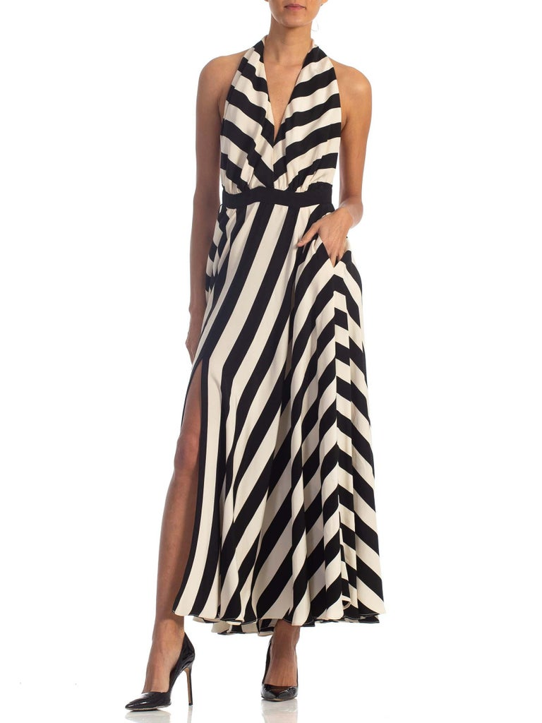 1970S Black & White Striped Silk Faille Backless Halter Gown With Slit Pockets For Sale 3