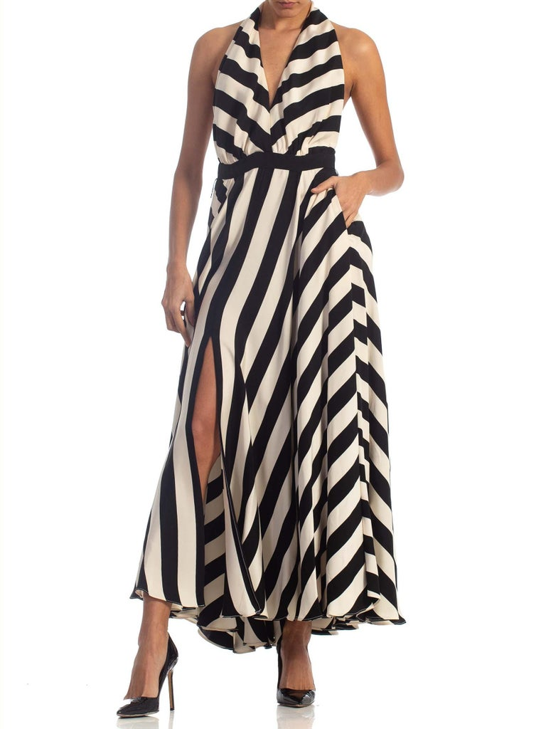 1970S Black & White Striped Silk Faille Backless Halter Gown With Slit Pockets For Sale 4