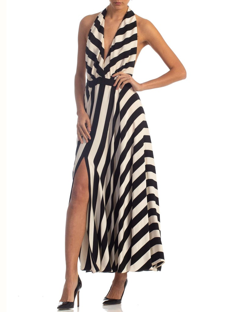 1970S Black & White Striped Silk Faille Backless Halter Gown With Slit Pockets For Sale 5