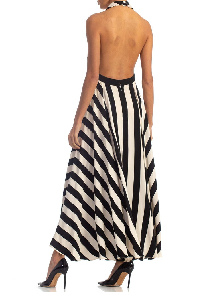 1970S Black & White Striped Silk Faille Backless Halter Gown With Slit Pockets For Sale 6
