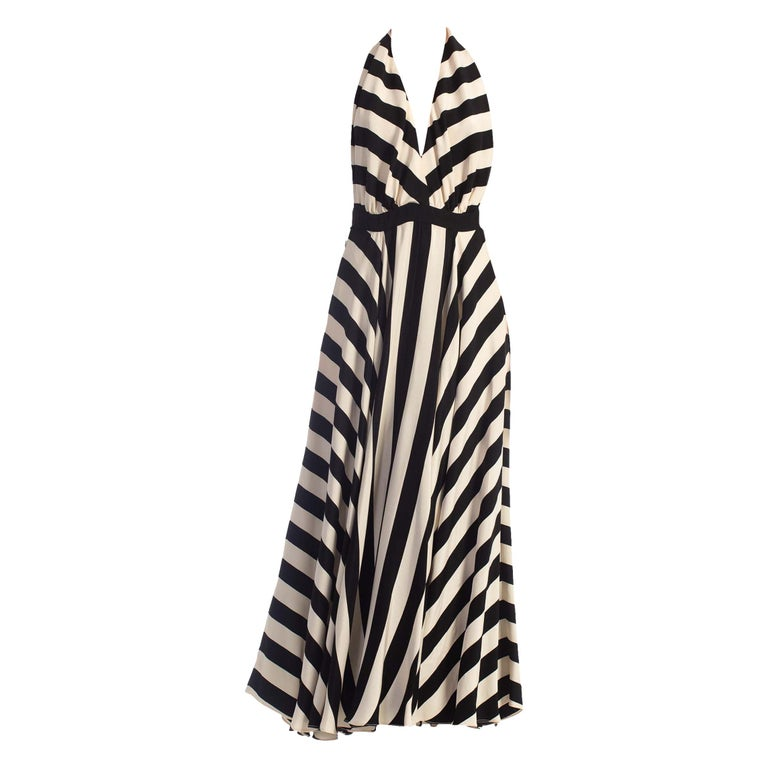 1970S Black & White Striped Silk Faille Backless Halter Gown With Slit Pockets For Sale