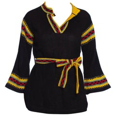 1970S Black & Yellow Acrylic Knit Belted Sweater