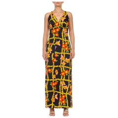 1970S Black & Yellow Floral Polyester Maxi Dress With A Pocket