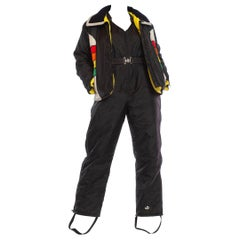 1970S Black & Yellow Nylon Ski Overalls Jumpsuit Jacket