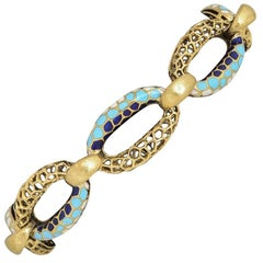 1970s Blue and White Enamel Honeycomb Gold Bracelet