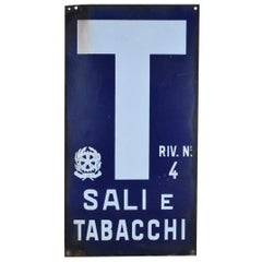 1970s Blue and White Italian Vintage Enamel Tobacco Sign 'Sali e Tabacchi'