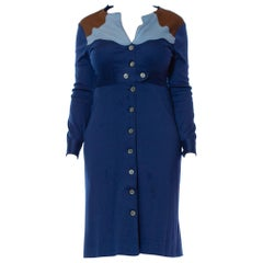 1970S Blue & Brown Polyester Jersey Ossie Clark Style Button Front Dress
