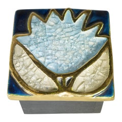 1970s Blue Ceramic Francois Lembo Box with Gold Detailing