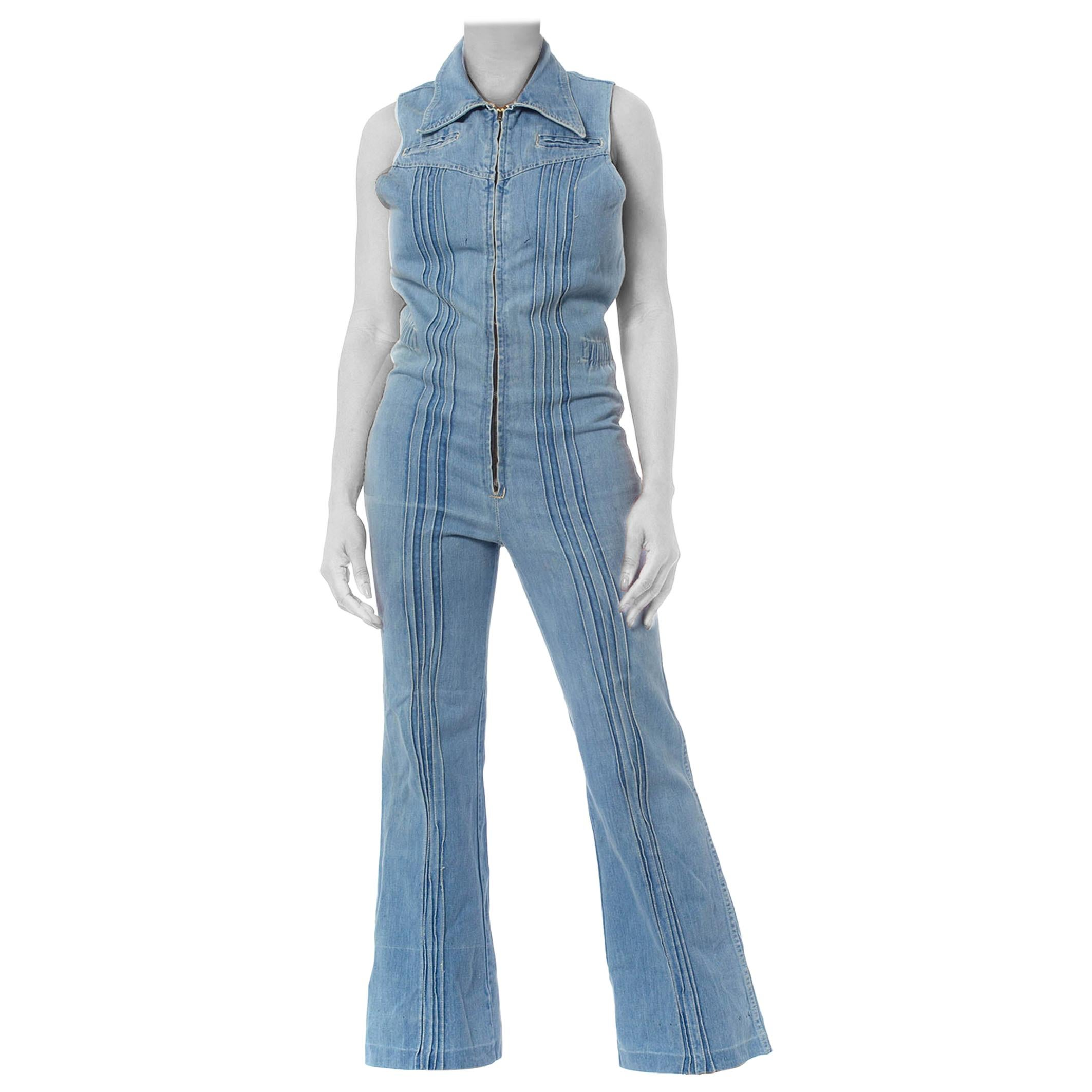 1970S Blue Cotton Denim Sleeveless Jumpsuit
