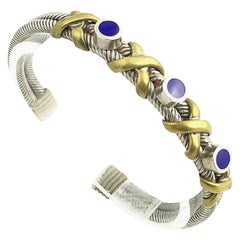 1970s Blue Enamel Brass and Sterling Silver Cuff Bangle Bracelet