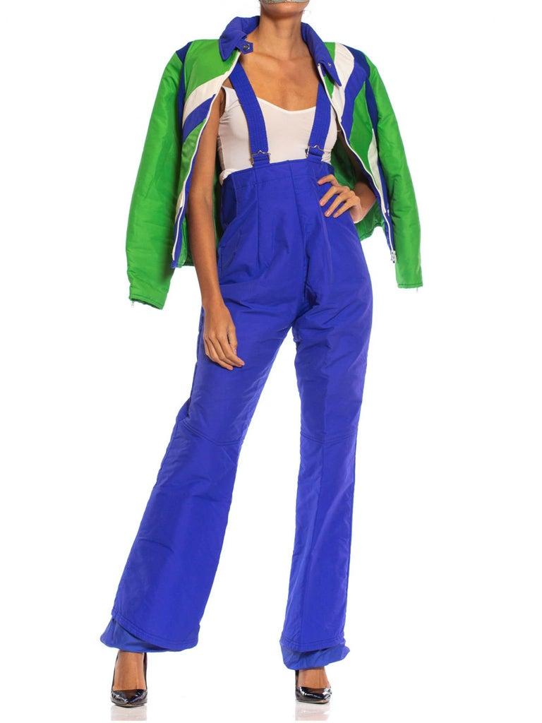 Purple 1970S Blue & Green Nylon Austrian Mod Ski Jacket Pants Ensemble For Sale