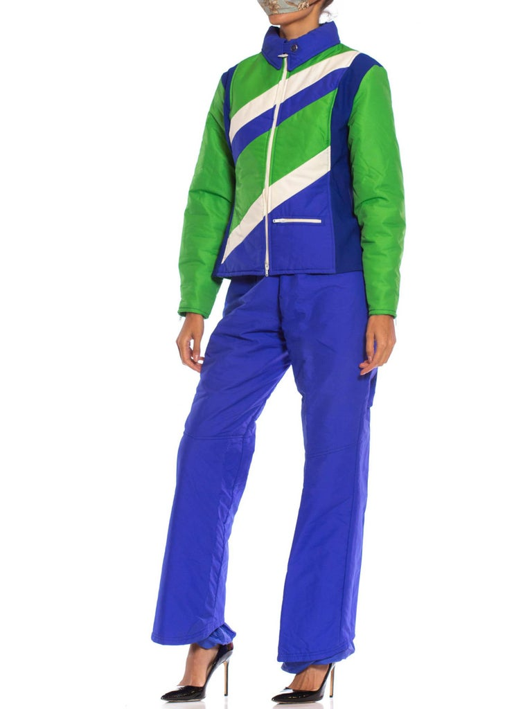 1970S Blue & Green Nylon Austrian Mod Ski Jacket Pants Ensemble In Excellent Condition For Sale In New York, NY